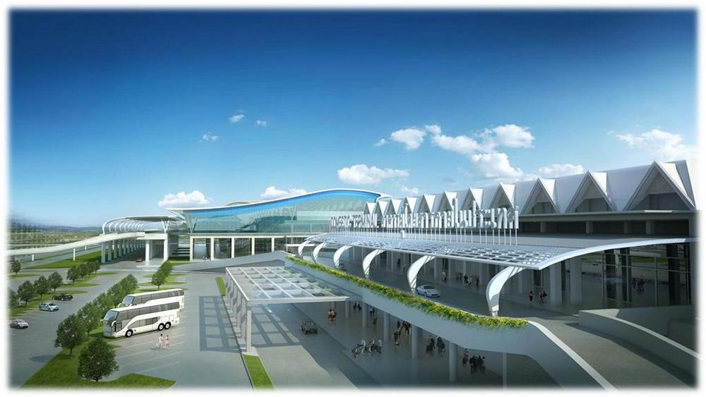 CG image of the revamped airport, looking west.