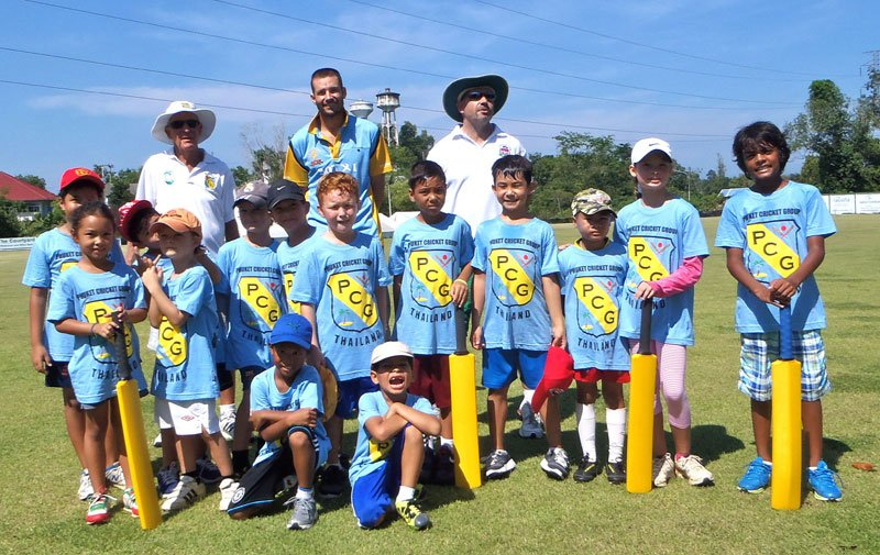 The kids and their coaches at the inaugural training day for the PCG's cricket academy