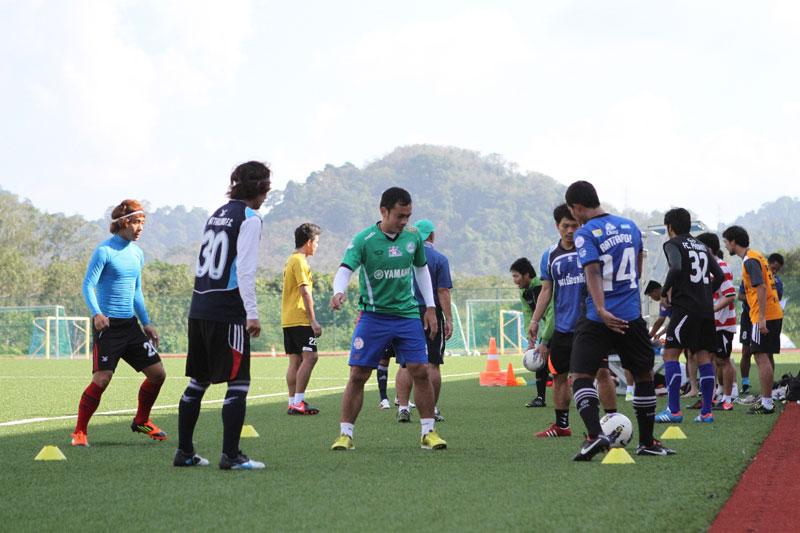 Phuket FC footballers at Thanyapura Sports and Leisure Club this week.