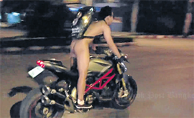 Motorcyclist nabbed after naked joyride in Chiang Mai goes viral