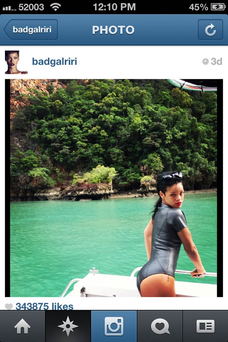 Snaps from Rihanna's Phuket trip on her Instagram account