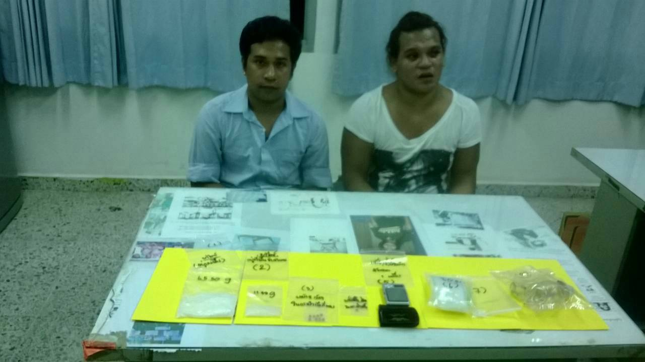 Two ladyboys were arrested last night on drugs charges.