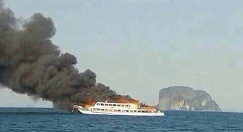 Fire rages from stem to stern of the Ao Nang Princess 5. Photos by Krabi Rescue Centre