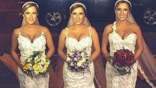 Identical Brazilan triplets say 'I do' together