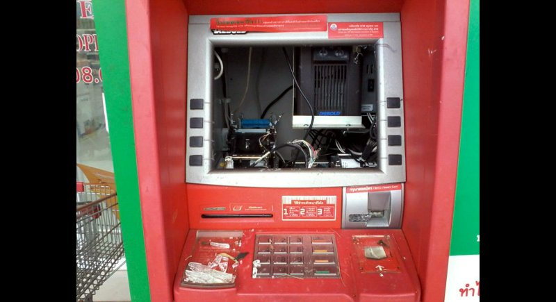 Police arrived to find the screen smashed and the ATM inoperable, but the cash untouched inside. Photo: Eakkapop Thongtub