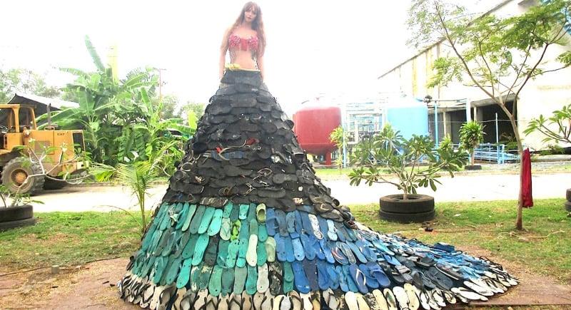 Phuket 'eco artist' creates 'Flip Flop Princess' sculpture from beach rubbish
