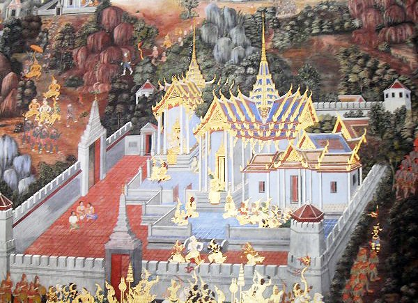 A scene from the Ramakien, illustration at Wat  Phra Kaew. Photo: Sirinya Pakditawan