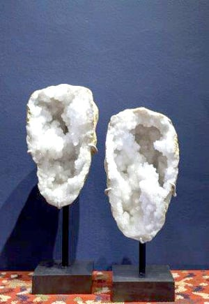 Quartz geode pair from Mexico.