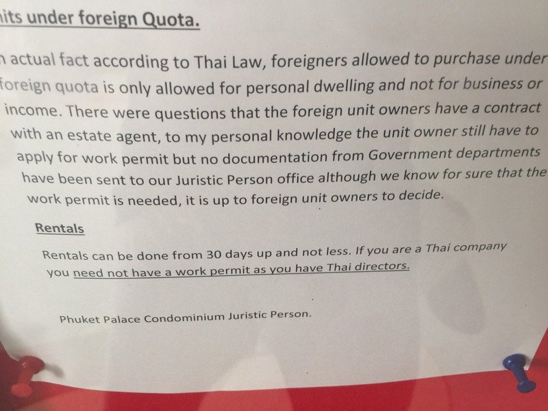 The notice warned that units owned by foreigners under the 'foreign quota' could not be used as a source of income.