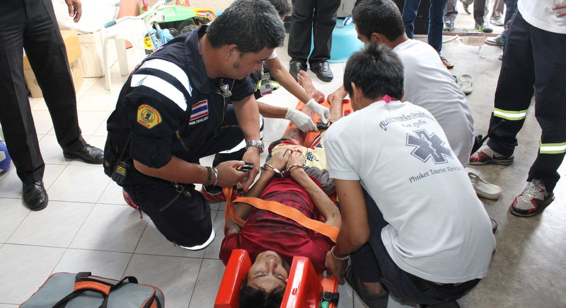Suksawat Jansuta, 27, was shot in the leg whilst trying to escape arrest. Photo: Darawan Naknakhon