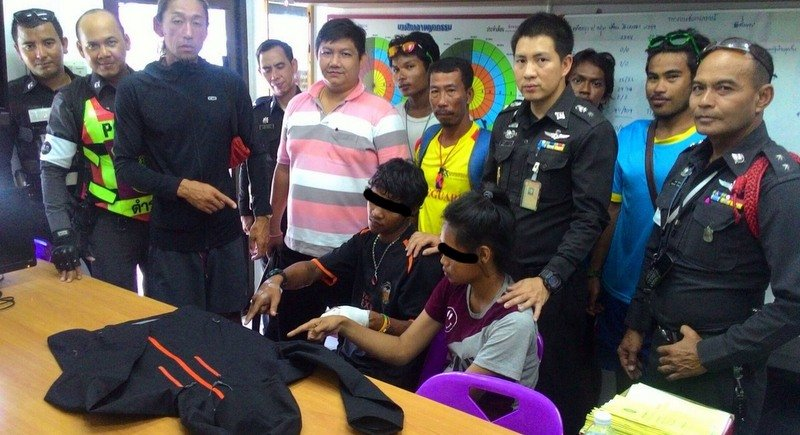 Suppanat Chobkhat and Wanchai ThongKliang were presented to the press on Friday (Sept 2). Photo: Karon Police