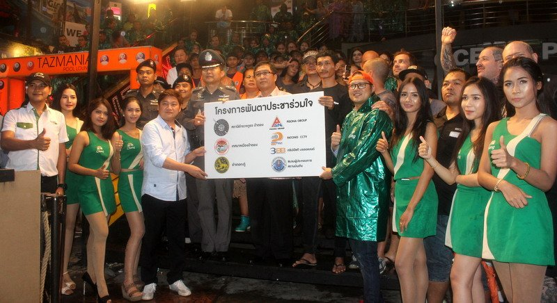 The 10 CCTV cameras were handed over at a ceremony on Bangla Rd on Tuesday (Sept 6). Photo: Darawan Naknakhon