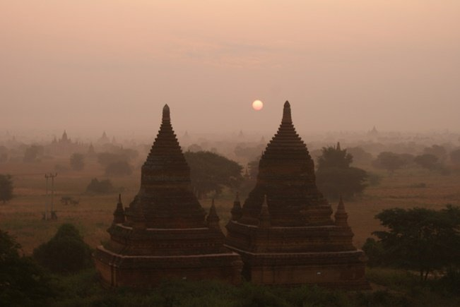 Watching the sunrise over ancient temples is Bagan's biggest draw card. Photo by Mark Knowles.