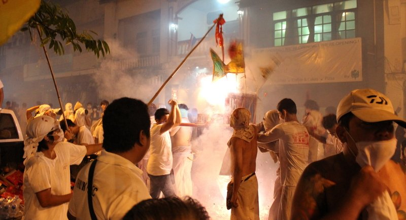 Only traditional firecrackers will be allowed at this year's Phuket Vegetarian Festival. Photo: The Phuket News / file
