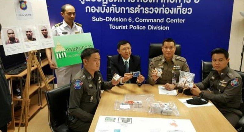 Police present the fake credit cards to media yesterday (Sept 28). Photo: Post Today