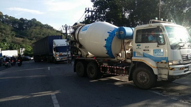 A cement truck was called in to to tow the semi-trailer up the hill. Photo: Kathu Police