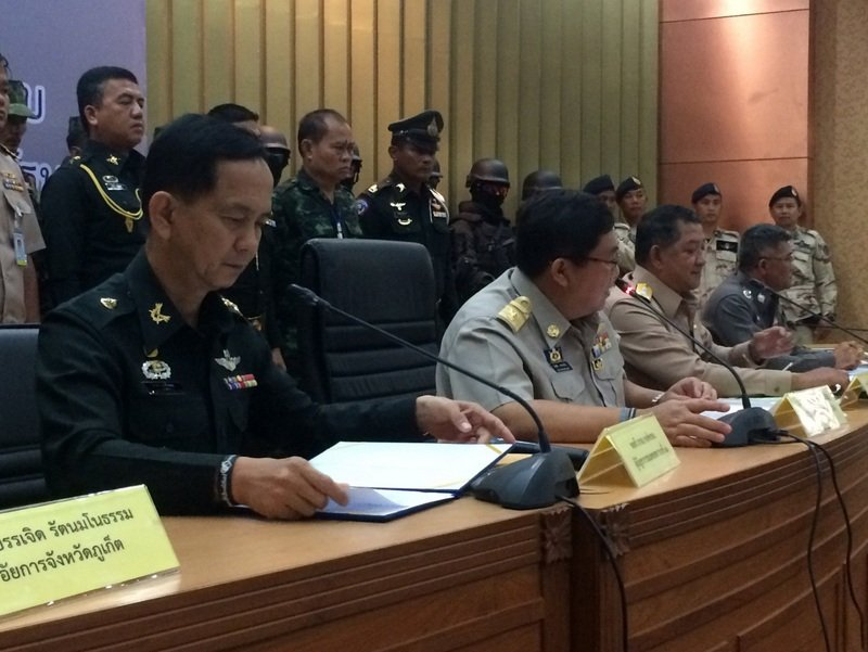 "Maj Gen Arkom Pongprom reported that nine individuals have been questioned following a complaint accusing army officers of ""collecting money"" from business operators in Phuket. Photo: Eakkapop Thongtub"