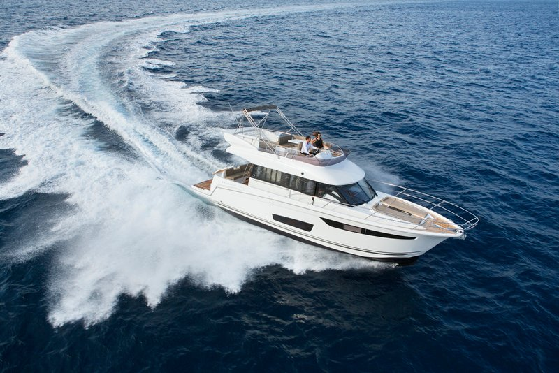 The Jeanneau Velasco 43F is on display at the Phuket International Boat Show (PIMEX) at Royal Phuket Marina.
