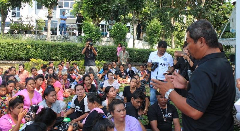 The Rawai sea gypsies waited anxiously outside Phuket Provincial Court to hear the news today (Jan 31). Photo: Premkamon Ketsara