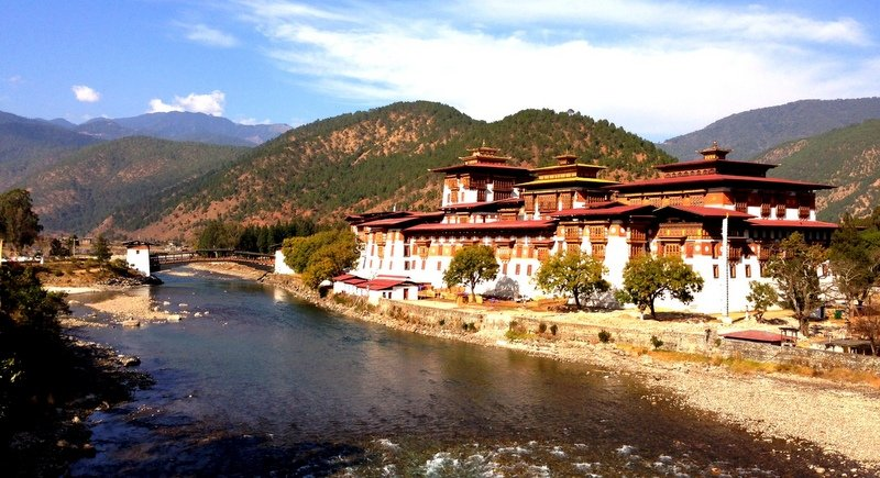 The imposing Punakha Dzong has stood for centuries in the mountains of Bhutan. Photo: Andrew J Wood