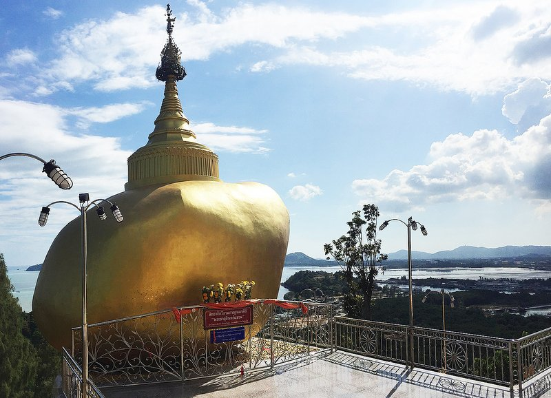 a replica of Kyaiktiyo Pagoda, also known as the Golden Rock, has been created at the temple. Photo: Jamie Monk