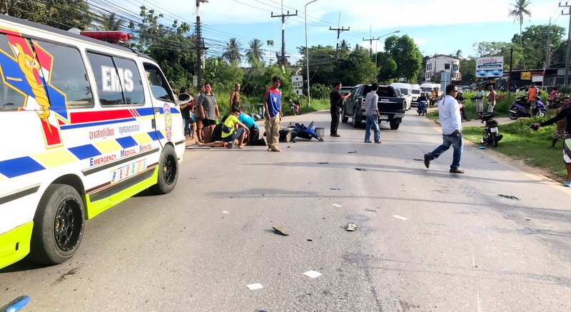 The collision occurred while Tin Suklim, 70, was turning right into Soi Thala, toward Phuket's government-run home for the elderly. Photo: Eakkapop Thongtub