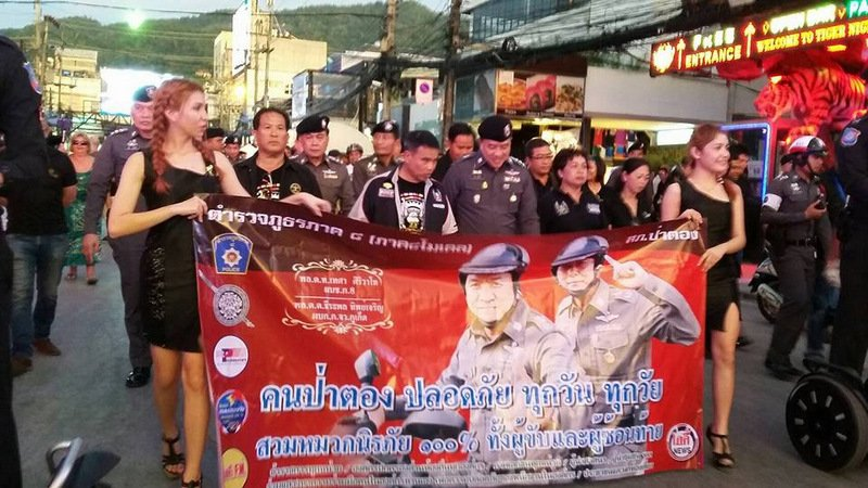 Participants stand at the ready at the Phuket Bike Week event on Bangla Rd, Patong, on Saturday (April 15). Photo: PR Dept