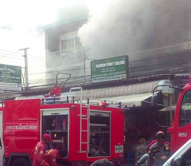 Firefighters were quickly at the scene, a massage parlour on the Patong beach road. Photo: Patong Police