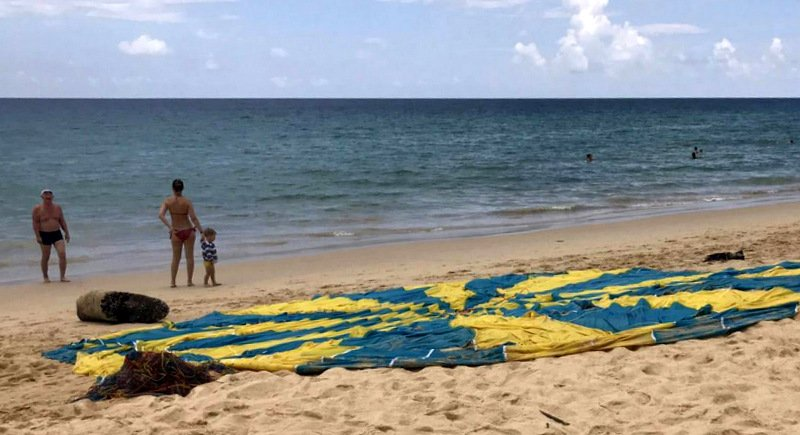 Russian boy Timur Gadylshin, 10, on holidays in Phuket with his family, escaped serious injury in the fall after the parasail collapsed. Photo: Karon Police