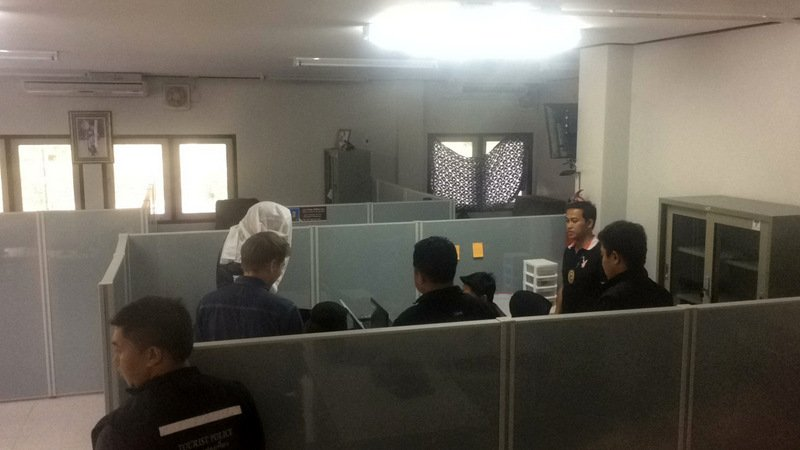 The Russian tourists were brought to Karon Police Station early yesterday evening (May 7). Photo: Ekkapop Thongtub