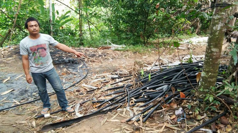 Discarded plastic cable casings were found near the men's accommodation near the workers' camp. Photo: Thalang Police