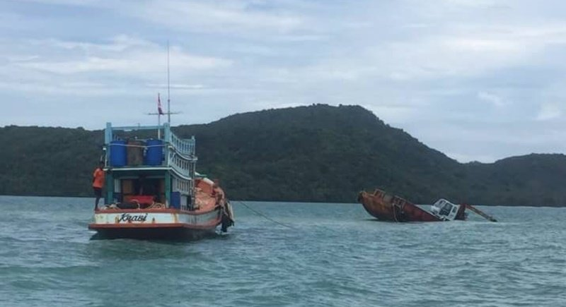 The vessel sunk around one nautical mile off the south coast of Phuket. Photo: Phuket Marine Office 5