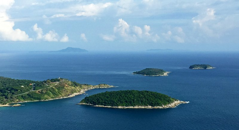 Koh Racha Yai, 20km away, can be easily seen from Pa Hin Dum viewpoint.