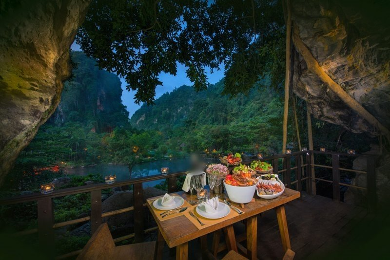 'Sizzle and Flames' cocoons diners in The Balcony, a private cave chamber that overlooks the retreat's hot springs lake.