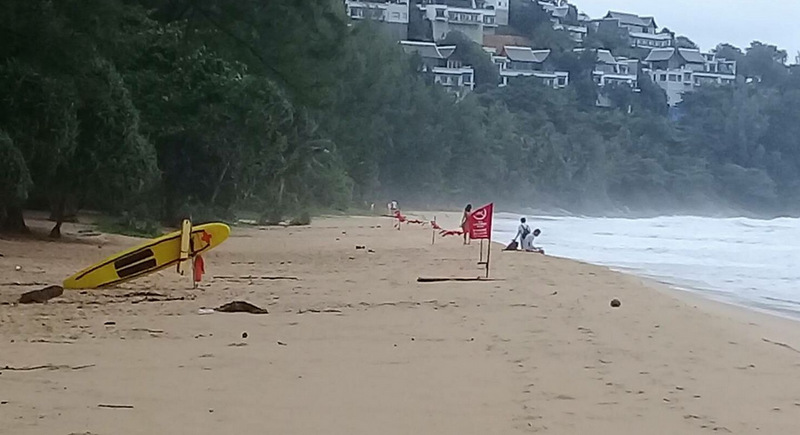 Lifeguards have already posted 'no swimming today' notice at Nai Thon Beach. Photo: Phuket Lifeguard Service
