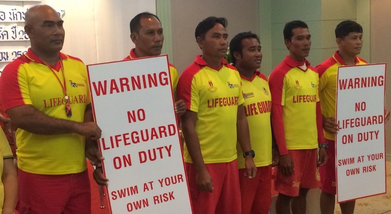 Phuket Lifeguards announce that the would not be patrolling the beaches following the failed contract negotiations between the PPAO and Phuket Lifeguard Service. Photo: TPN File