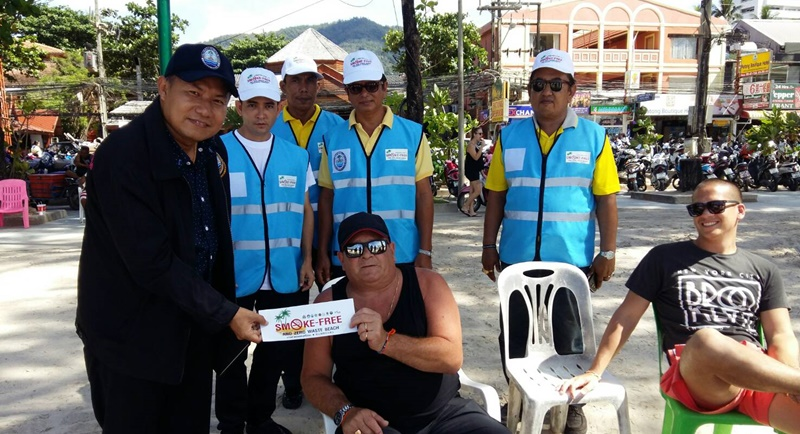 The inspection of Patong Beach came following the introduction of the cigarette ban on Nov 1. Photo: DMCR
