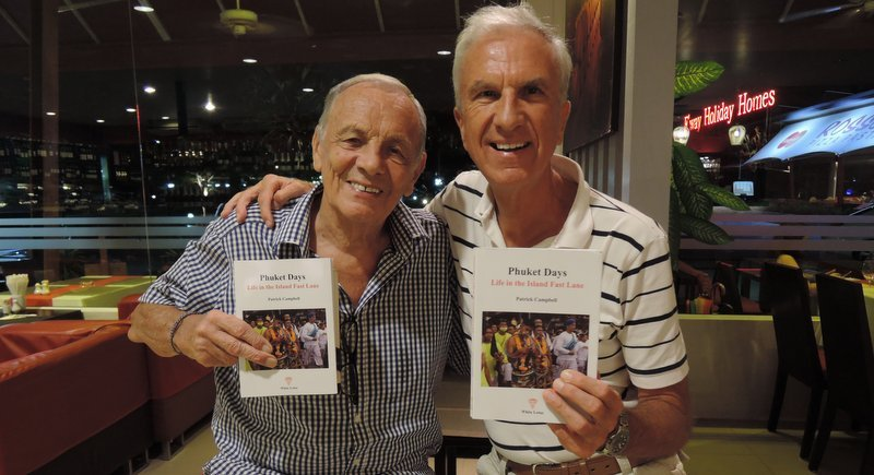 Patrick Campbell (left) with his friend, and fellow columnist for 'The Phuket News', Baz Daniel.