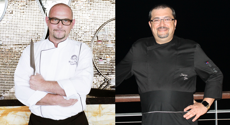 Guest Chef Marco Medaglia (left) and Cape Sienna Executive Chef Francesco Greco will be competing in the kitchen at Plum to impress their guests with an evening of creative Italian cuisine.