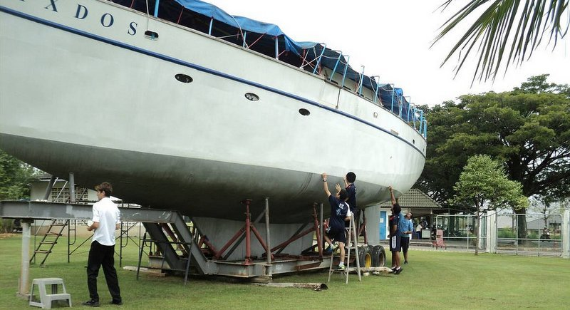The 'Ixdos' sits in dry dock on the lawns of the BISP campus in Phuket.