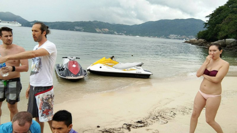 The jet-skis collided off Tritrang Beach, south of Patong this afternoon (Jan 12). Photo: Supplied