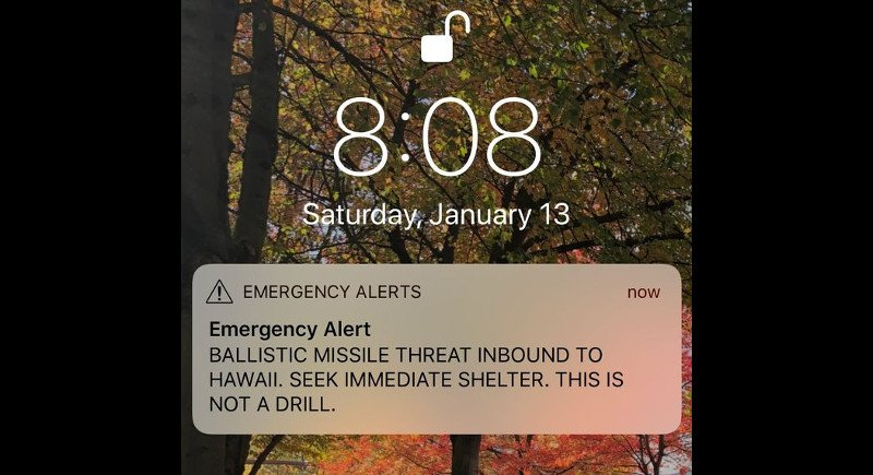 The ballistic missile alarm was sent to thousands of Hawaiians last Saturday (Jan 13).