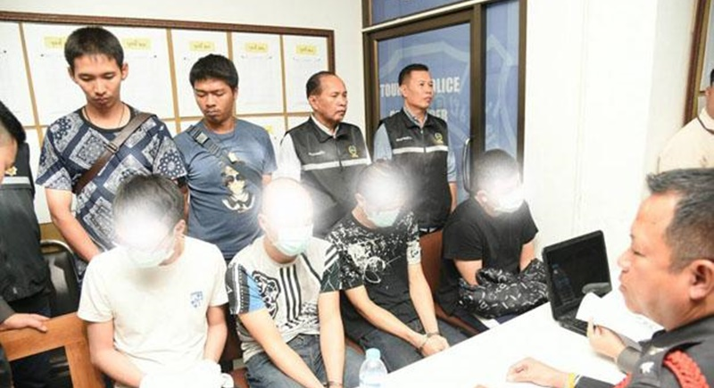 Tourist police display Taiwanese suspects during a press conference in Bangkok yesterday (Jan 21). Photo: Tourist Police