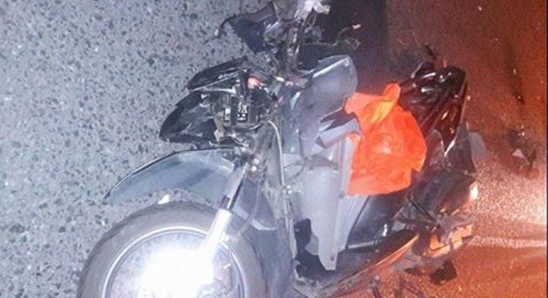 What remained of Mr Mina's motorbike following the collision. Photo: Supplied