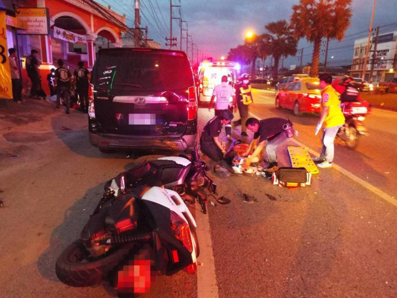 The two men riding the 300cc Yamaha 'maxi scooter' were both taken to hospital. Photo: Eakkapop Thongtub