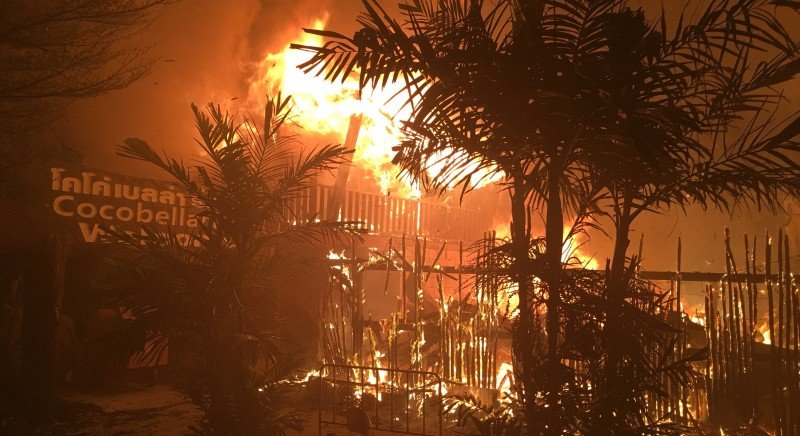 A gas cylinder reported exploded and started the fire. Photo: Phi Phi Island News Group
