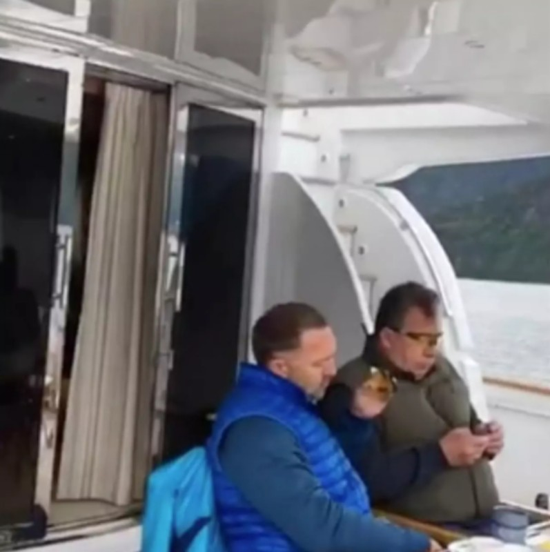 A still from Ms Vashukevich's video of Oleg Deripaska and Sergei Prikhodko discussing US relations on a yacht, which Instagram later removed Photo: Instagram, via The Telegraph