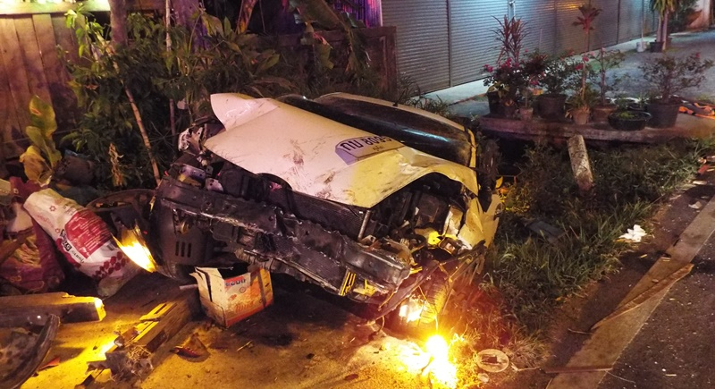 After crashing into a roadside restaurant the car came to rest in a ditch. Photo: Eakkapop Thongtub