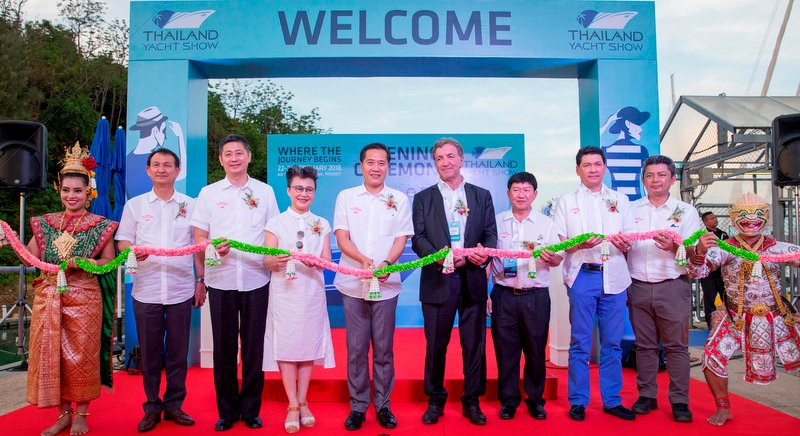 The official opening ceremony of the third edition of Thailand Yacht Show is presided over by Weerasak Kowsurat, Minister of Tourism and Sports (4th from left) joined by Prakob Wongmaneerung, Vice Governor of Phuket (6th from left); Andy Treadwell, CEO and Founder of the Thailand Yacht Show (5th from left); together with many VIPs from Tourism Authority of Thailand and the yachting community at Ao Po Grand Marina, Phuket.