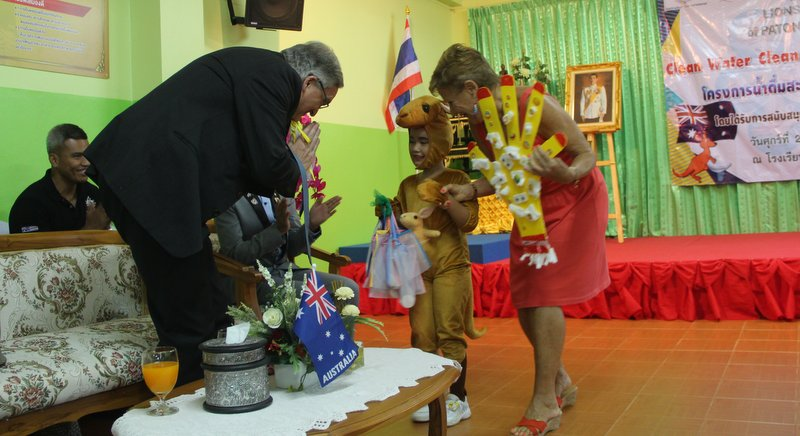 The B740,000 grant was presented during a ceremony at Baan Koh Siray School today (Mar 2). Photo: Mark Knowles